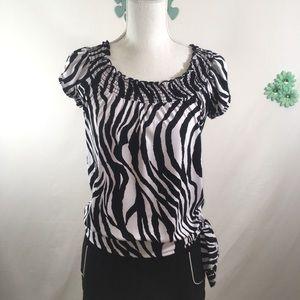 Heart Soul Zebra Print Blouse Size Jr. Small